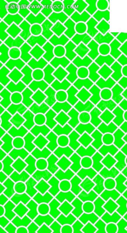 圆形菱形构成的镂空绿白竖图素材