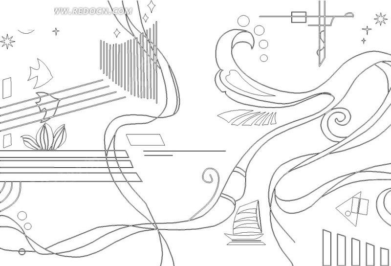 日月星光鱼船曲线几何形构成的移门图图片