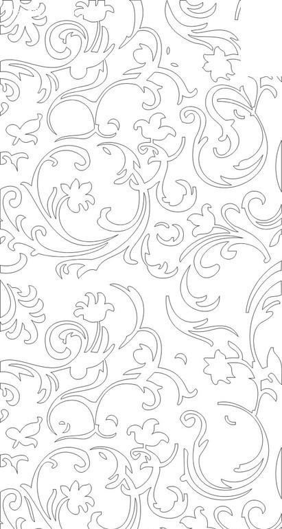 卷草花叶纹构成的线描镂空花纹黑白图案