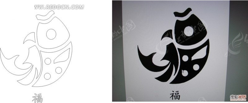 免费素材 矢量素材 花纹边框 花纹花边 鲤鱼纹福字构成的矢量图和图样图片