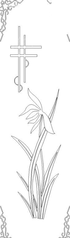 传统手绘边框竹子兰花