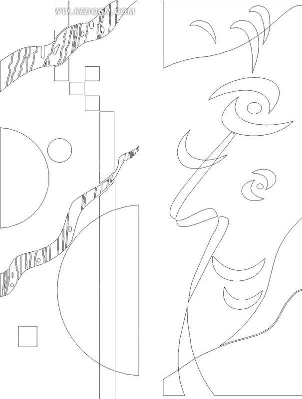 黑色线条几何图形抽象花纹图