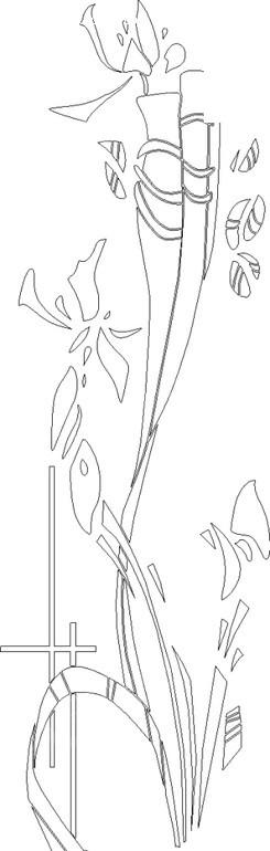 抽象兰花黑白线描