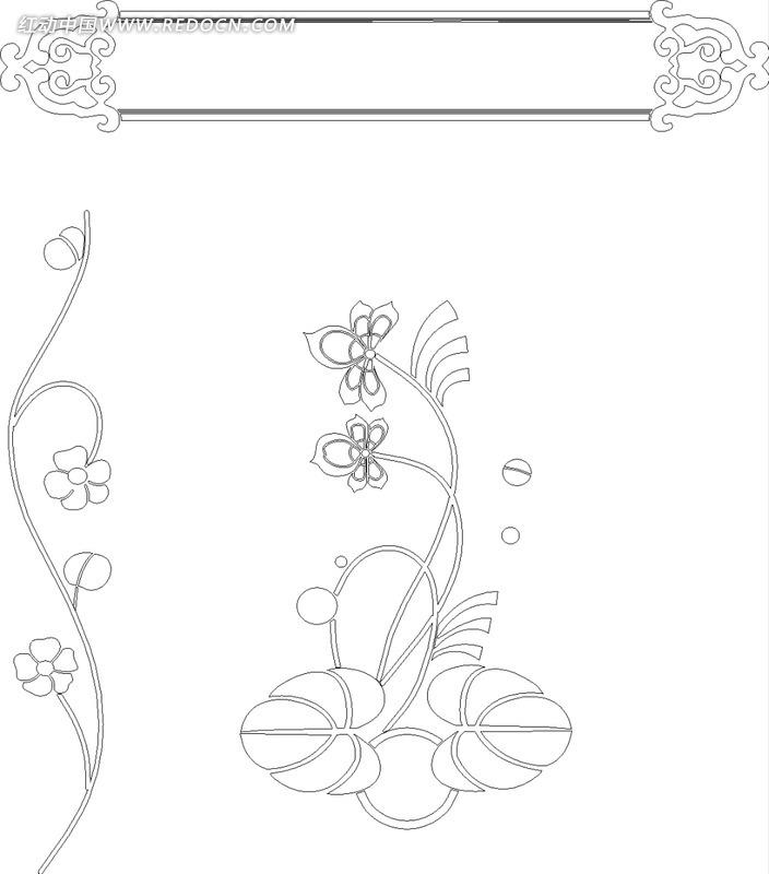 单色线条画藤蔓花朵与欧式花纹边框hpgl格式