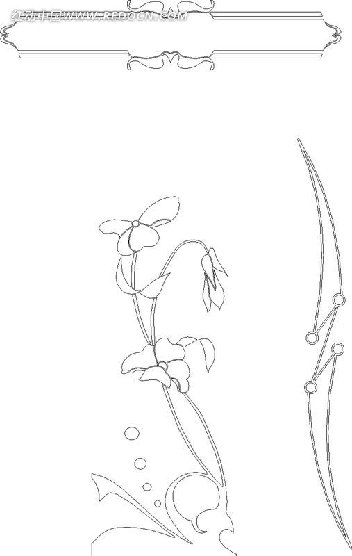 简单的黑白线描花卉矢量素材hpgl免费下载 红动网
