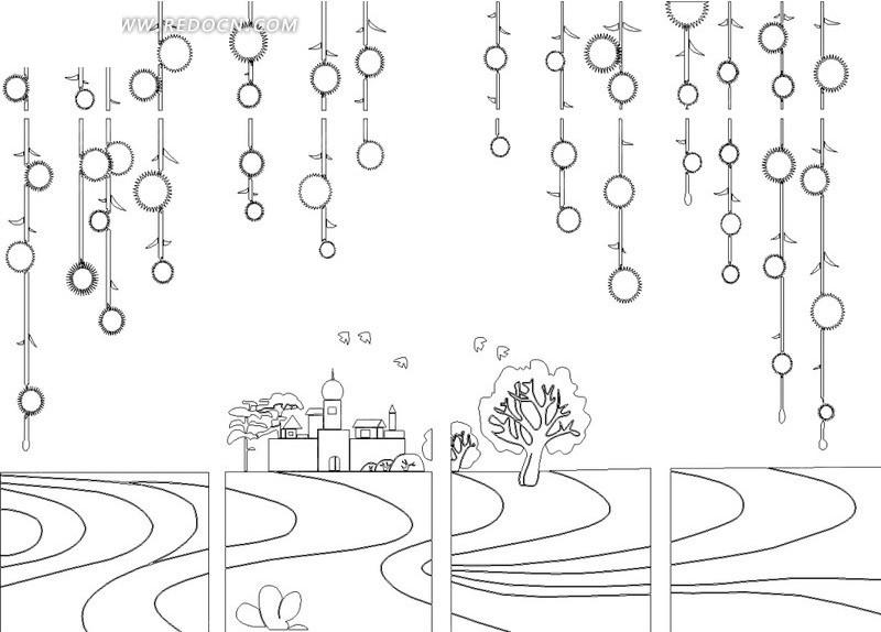 城堡 树 流水 简笔画 涂鸦  矢量素材