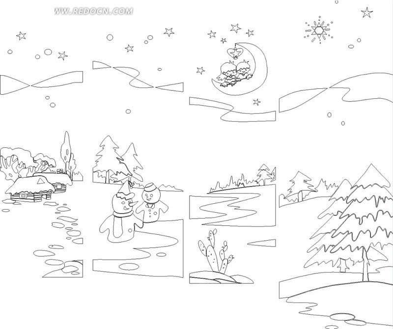手绘线条雪地松树星云月亮圣诞雪人