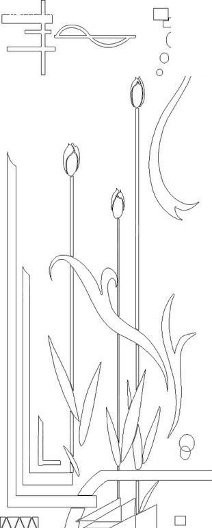 曲线/叶子/线条构成的花纹