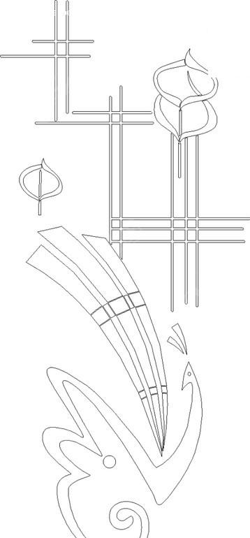 孔雀/线条构成的花纹