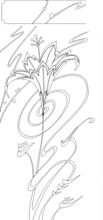免费素材 矢量素材 花纹边框 其他 百合花朵/卷曲的藤蔓构成的精美