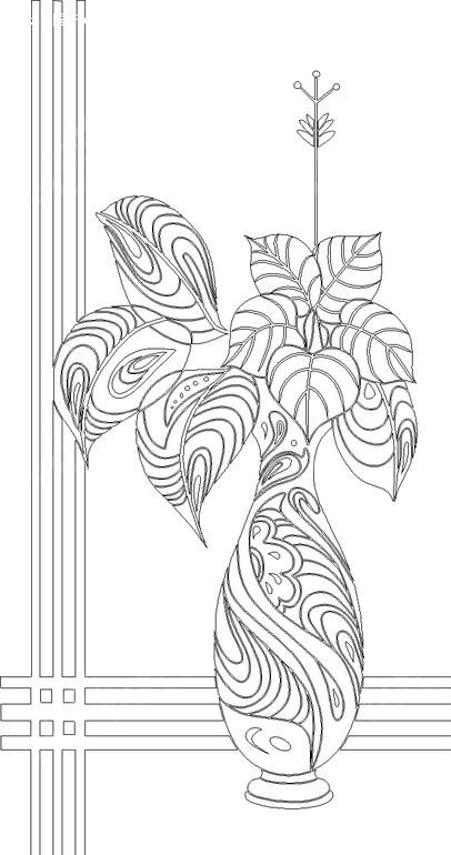 花瓶简笔画花纹对称-带纹理的叶子和花瓶构成的花纹hpgl素材免费下载