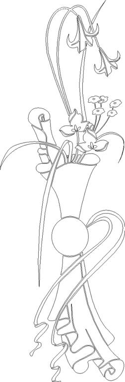 黑白线描花卉矢量素材