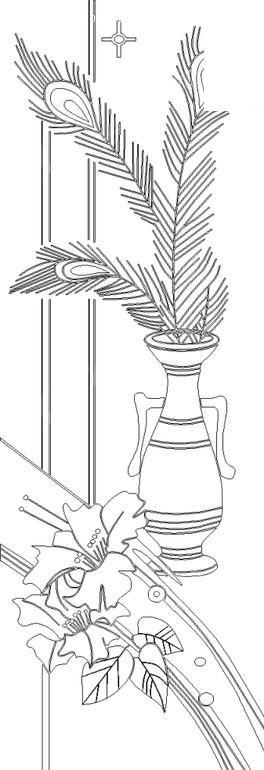 孔雀羽毛与花瓶黑白线