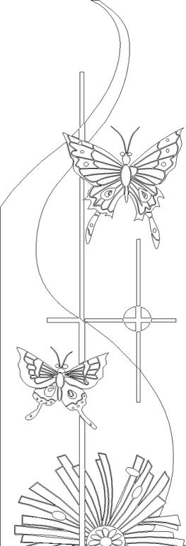抽象蝴蝶黑白线描稿