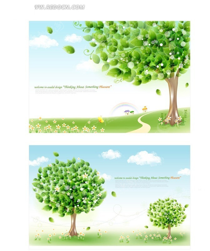 免费素材 矢量素材 花纹边框 底纹背景 手绘草地晶莹绿树