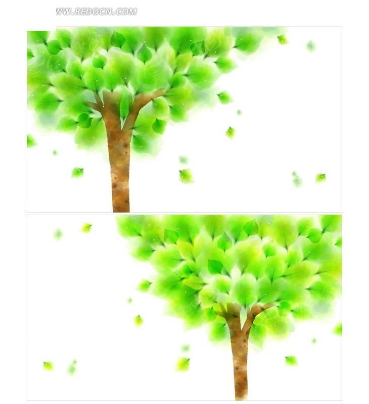 手绘青绿的大树