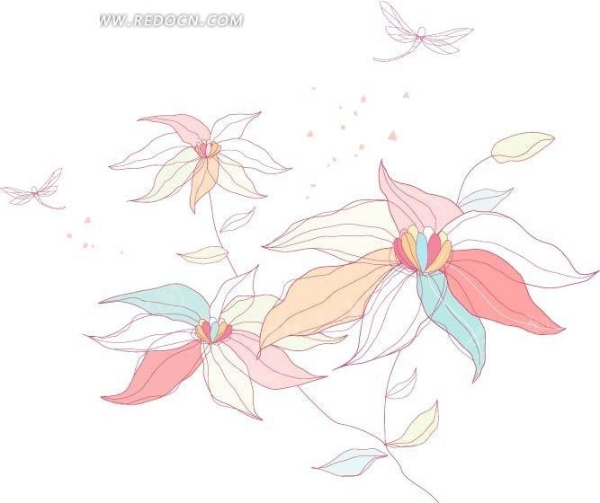 手绘盛开的花朵和蜻蜓