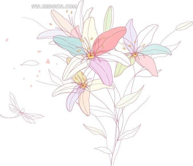 盛开的花朵 花苞 百合花  卡通画 插画 手绘 矢量素材 底纹 背景素材