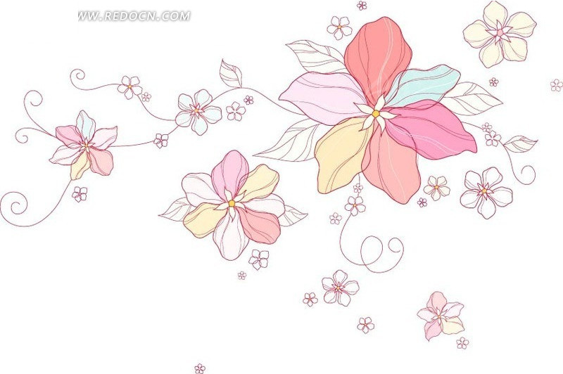 手绘盛开的花朵和藤蔓