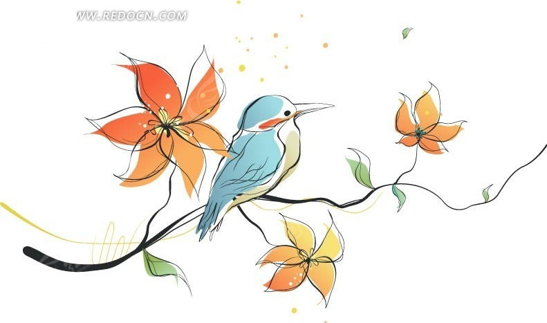 手绘盛开花朵的枝头上的蓝色鸟