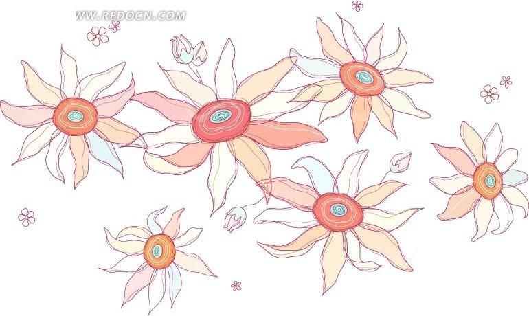 盛开的花朵 五颜六色的花朵 小花 手绘 插画 卡通画 矢量素材 底纹