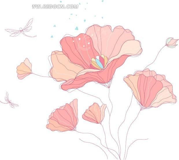 手绘美丽的粉色花朵和蜻蜓AI素材免费下载 编号1665135 红动网