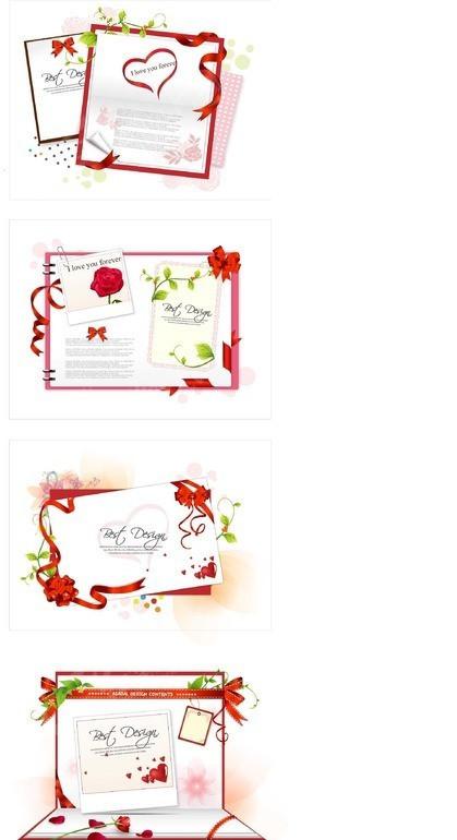 免费素材 矢量素材 花纹边框 印花图案 红色花朵彩带装饰的卡片设计