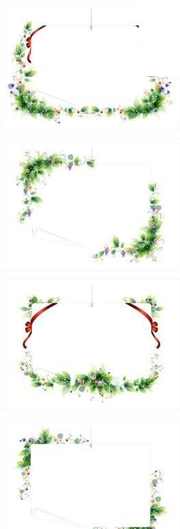 绿色植物叶子和小花朵彩带装饰的信纸图片