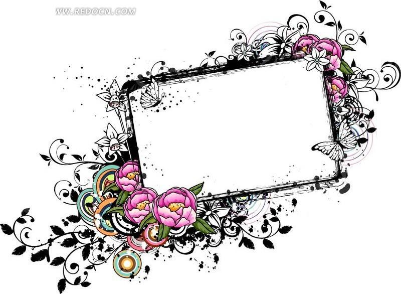 粉色牡丹花和线描花朵蝴蝶装饰的矩形ai素材免费下载