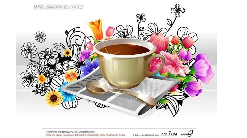 手绘藤蔓花朵装饰的闪亮咖啡杯勺子报纸