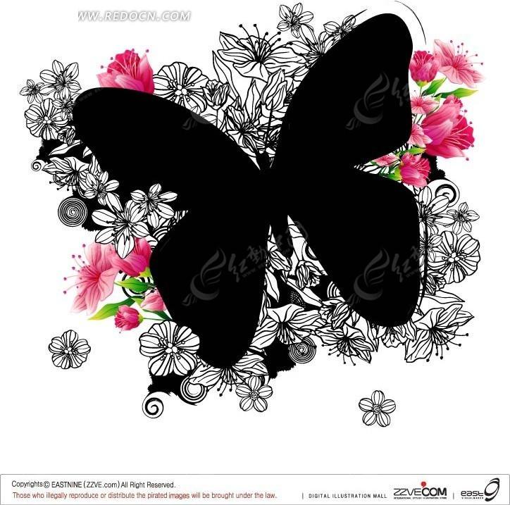 免费素材 矢量素材 花纹边框 底纹背景 手绘花卉和粉色花朵上黑色的蝴