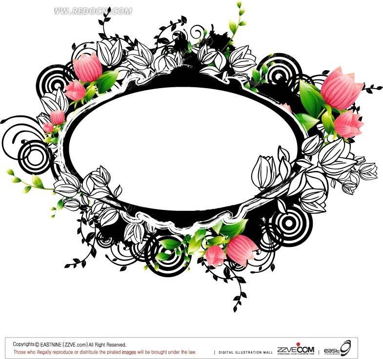 粉色花朵和手绘花朵围绕的椭圆