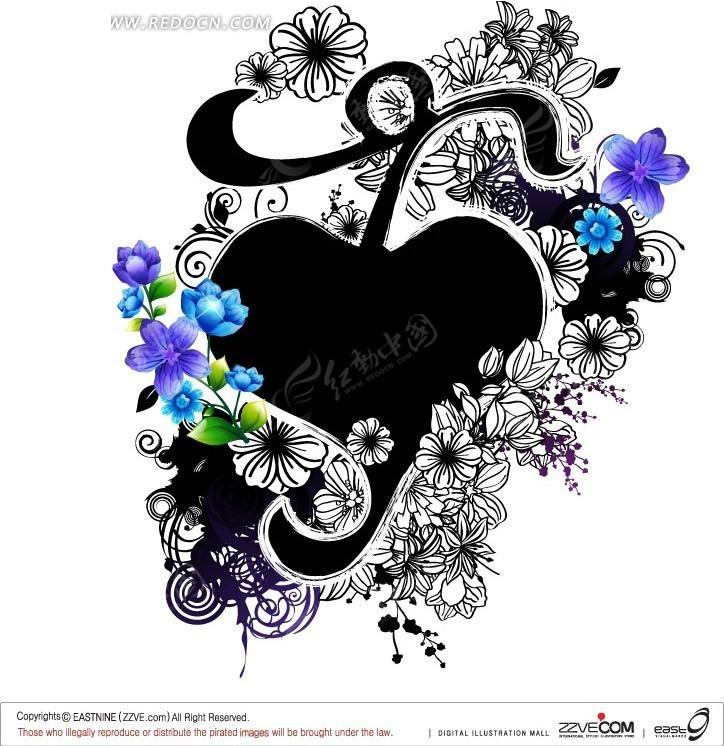 精美手绘花朵围绕的黑色音符