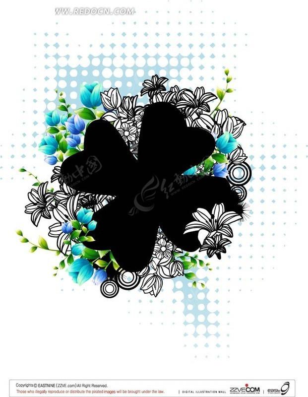 蓝色花朵和线描花朵围绕的四叶草图片