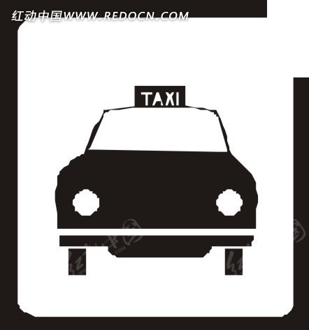 卡通出租车图形矢量图