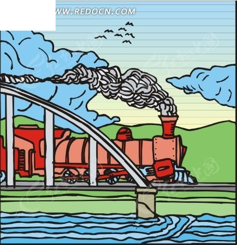 手绘海岸蒸汽火车图片