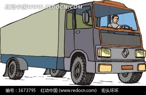 大货车插画图片
