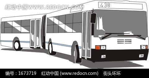 手绘白色438路公共汽车矢量素材