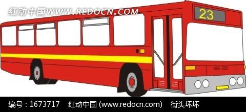 手绘红色23路公共汽车矢量素材