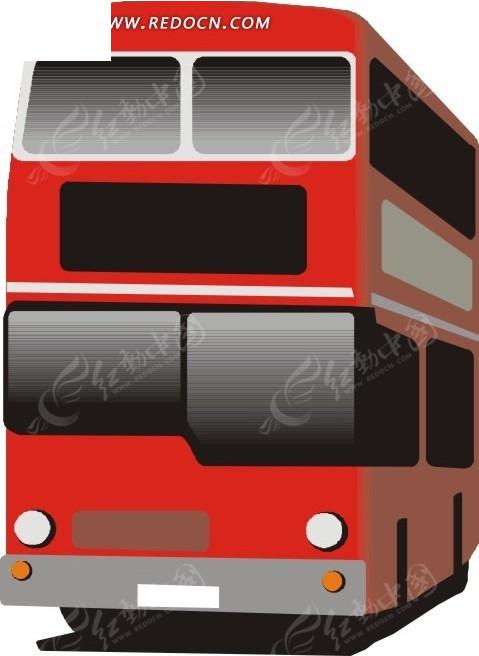 手绘红色双层公共汽车矢量素材