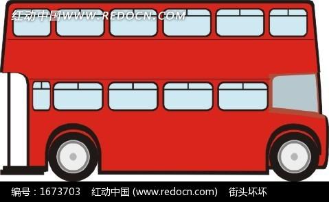 手绘红色双层公共汽车