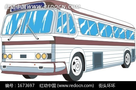 手绘白色公共汽车