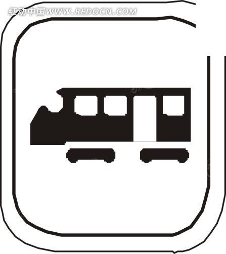 手绘轻轨列车图标