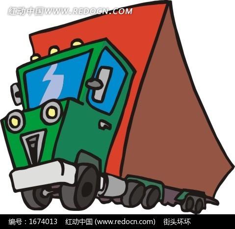 手绘绿色车头的公交车eps素材免费下载(编号1674013)