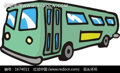 关键词:绿色公交车车汽车交通工具卡通画插画手绘