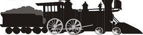 手绘煤炭蒸汽火车头