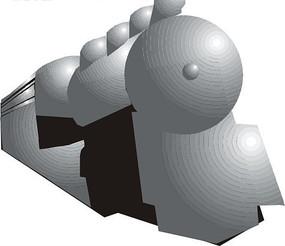 手绘抽象蒸汽火车头