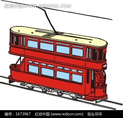 手绘路规双层电车