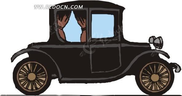手绘黑色古董车
