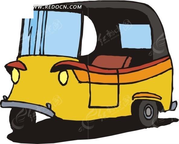 手绘黄色三轮汽车